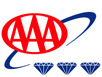 Triple AAA in red color with three diamonds shaped at the bottom logo