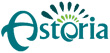 Astoria logo with white background and different shades of green